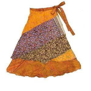Dresses & Skirts - Silk Patchwork Wrap Skirt